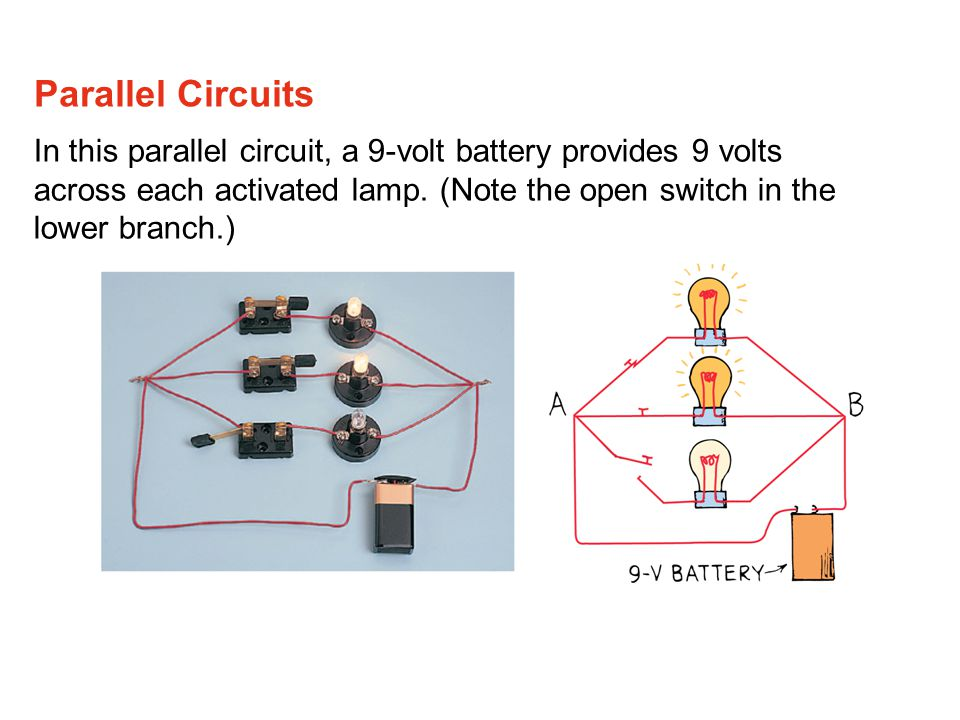 Parallel Circuits In this parallel circuit, a 9-volt battery provides 9 volts across each activated lamp.