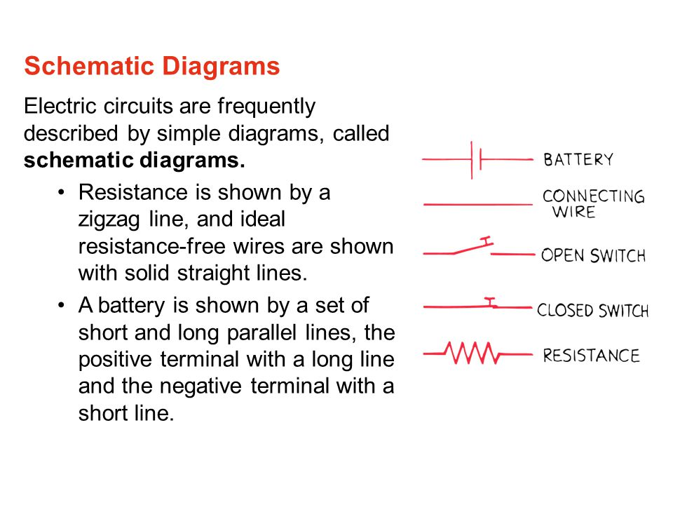Schematic Diagrams Electric circuits are frequently described by simple diagrams, called schematic diagrams.