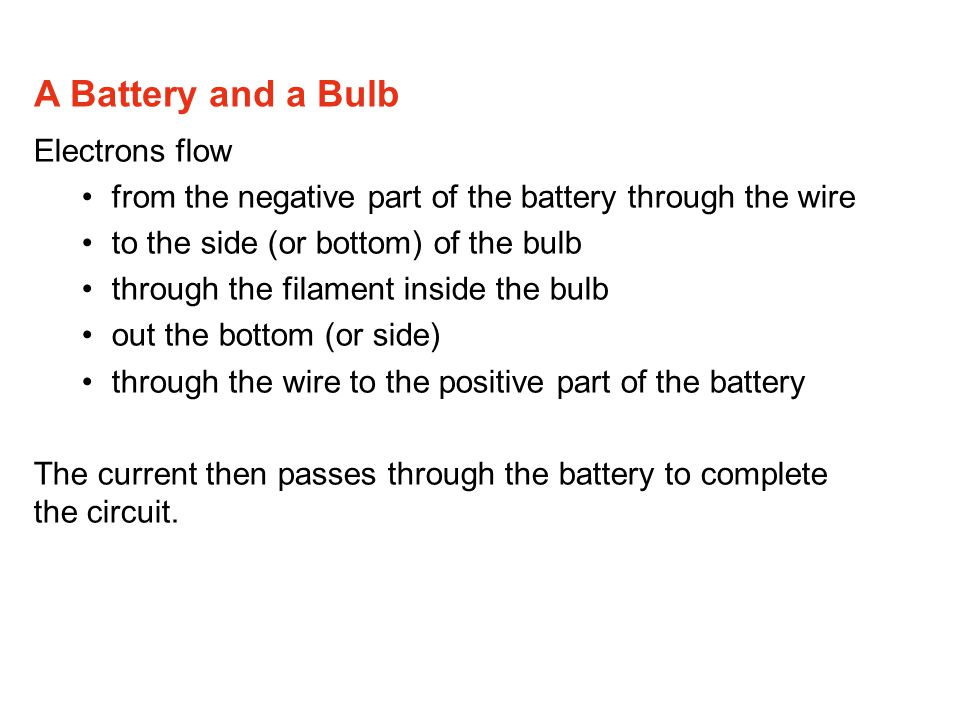A Battery and a Bulb Electrons flow