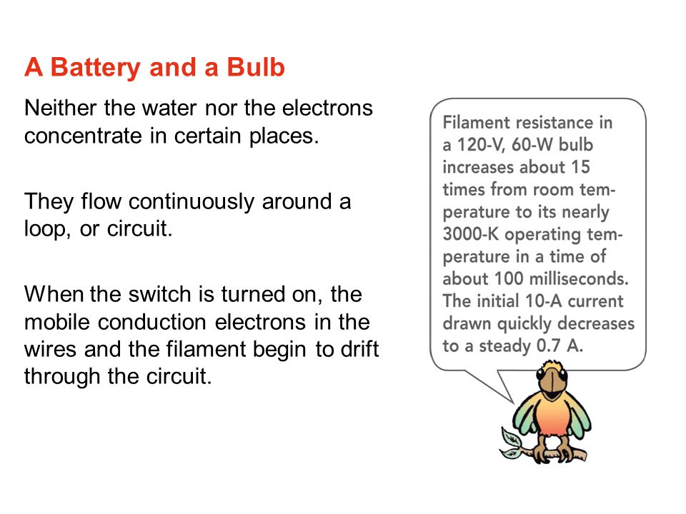 A Battery and a Bulb Neither the water nor the electrons concentrate in certain places. They flow continuously around a loop, or circuit.