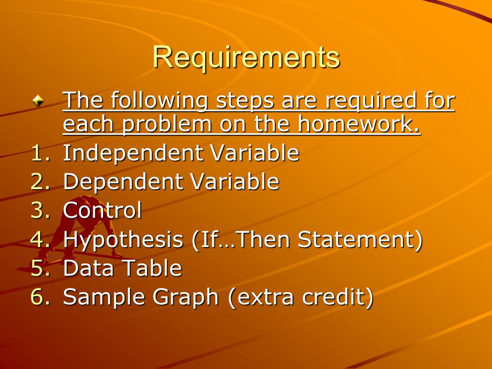 Requirements The following steps are required for each problem on the homework. Independent Variable.