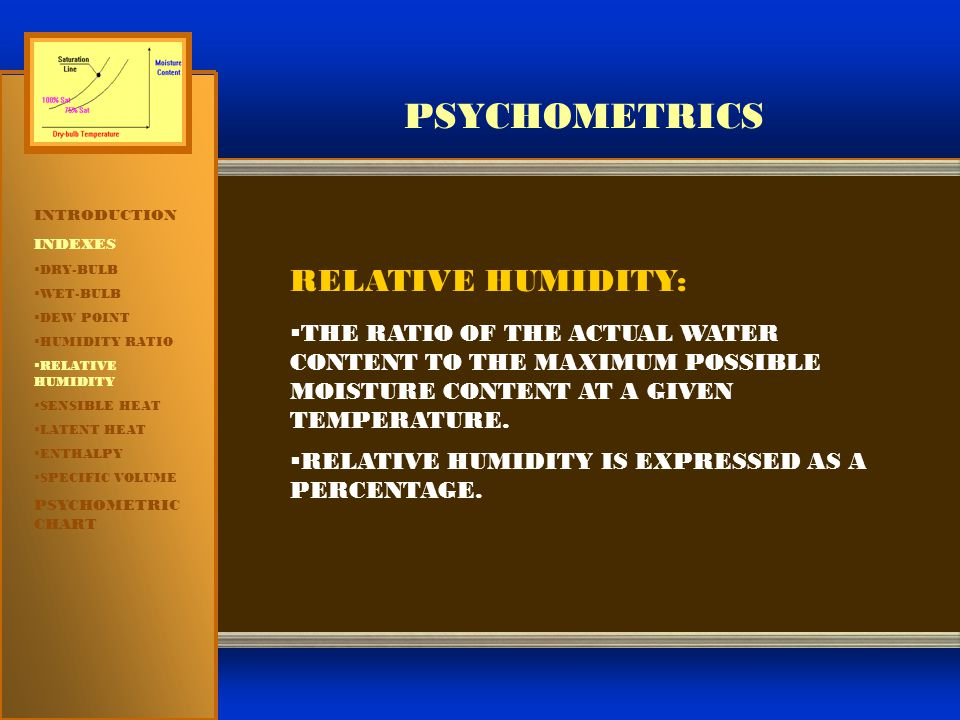 PSYCHOMETRICS RELATIVE HUMIDITY: