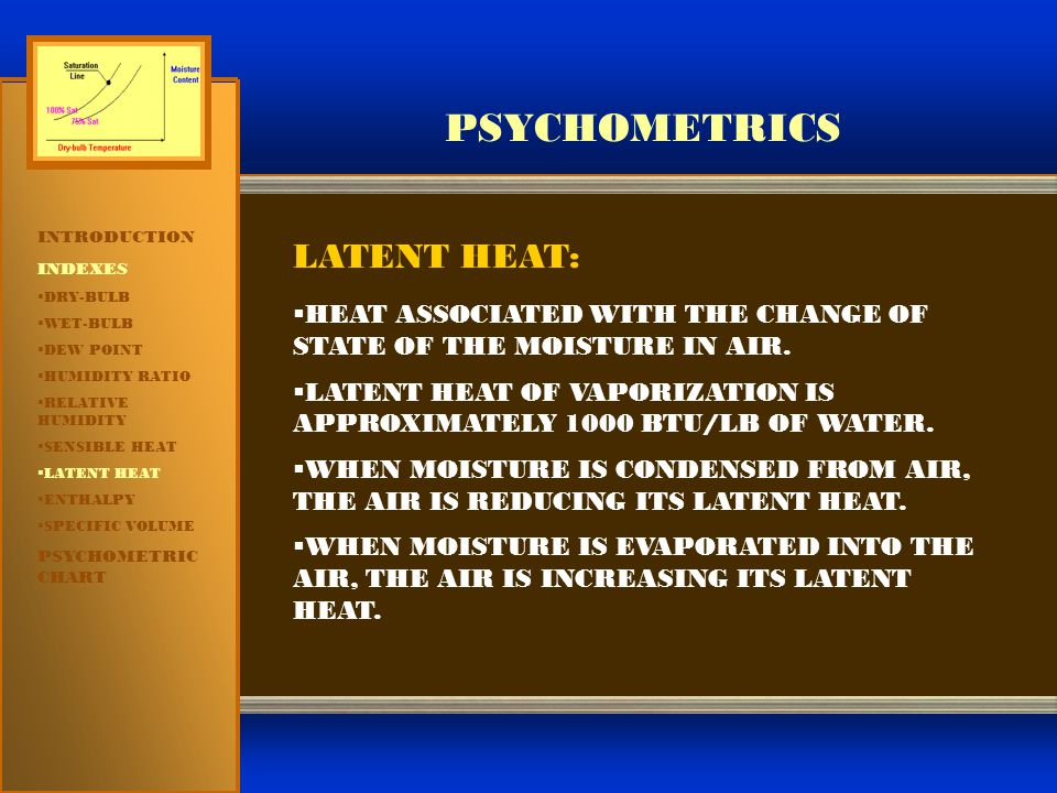 PSYCHOMETRICS LATENT HEAT: