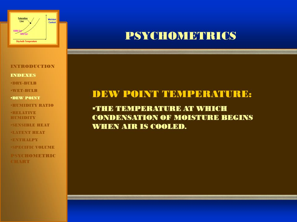 PSYCHOMETRICS DEW POINT TEMPERATURE: