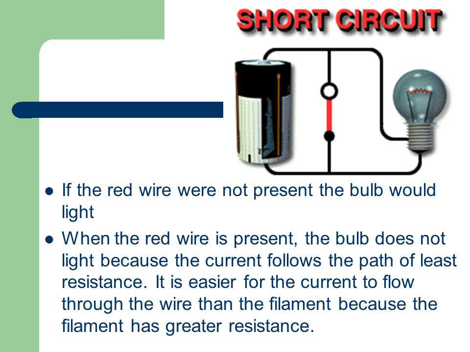 If the red wire were not present the bulb would light