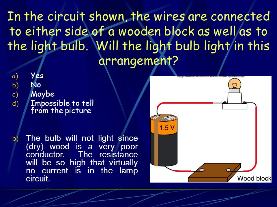 In the circuit shown, the wires are connected to either side of a wooden block as well as to the light bulb. Will the light bulb light in this arrangement