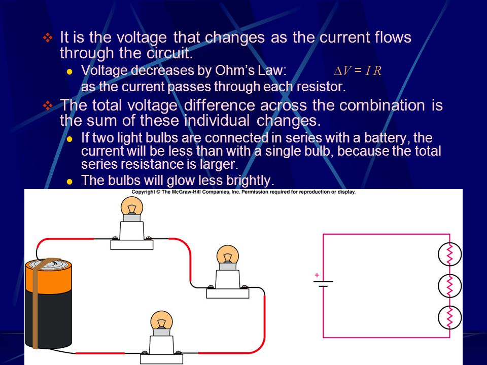 It is the voltage that changes as the current flows through the circuit.