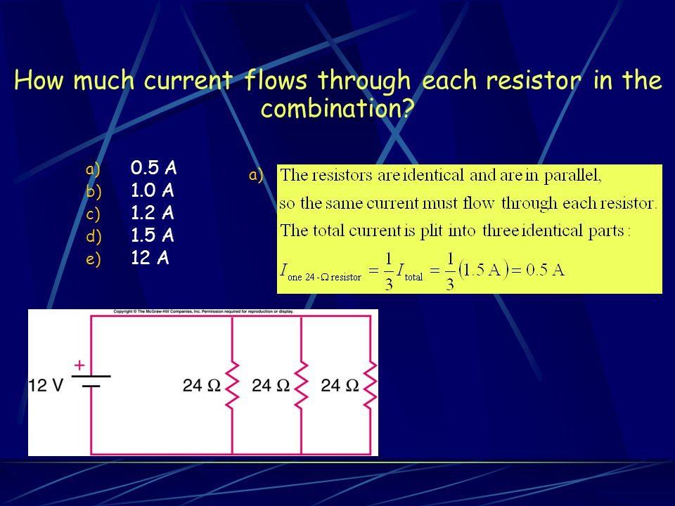 How much current flows through each resistor in the combination