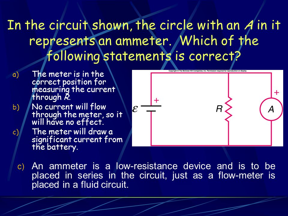 In the circuit shown, the circle with an A in it represents an ammeter