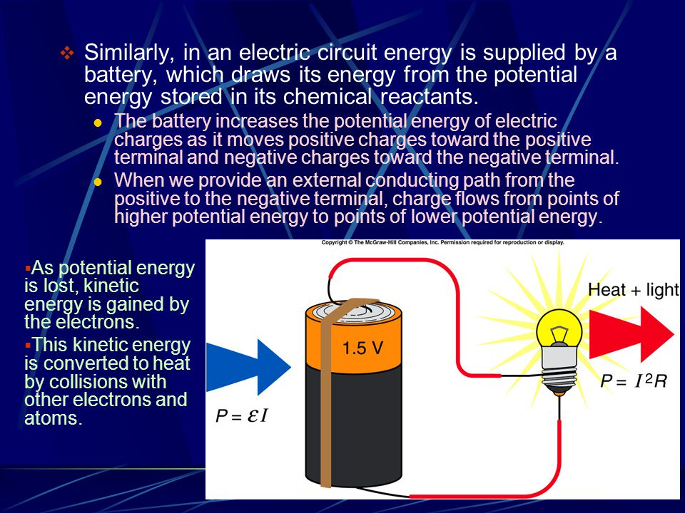 Similarly, in an electric circuit energy is supplied by a battery, which draws its energy from the potential energy stored in its chemical reactants.