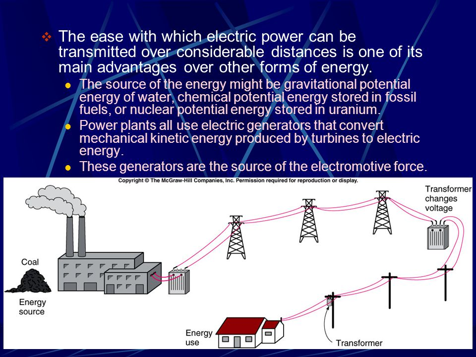 The ease with which electric power can be transmitted over considerable distances is one of its main advantages over other forms of energy.