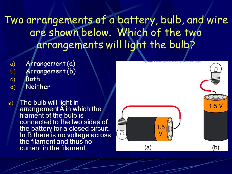 Two arrangements of a battery, bulb, and wire are shown below