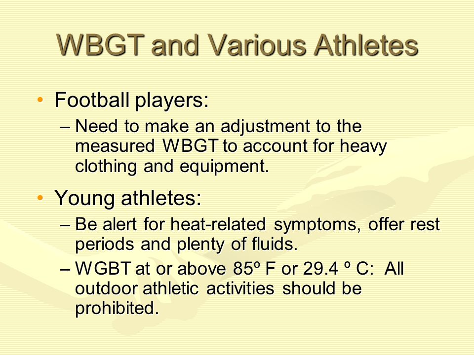 WBGT and Various Athletes