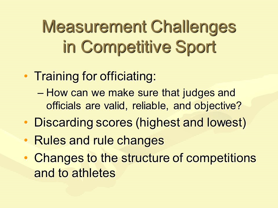 Measurement Challenges in Competitive Sport
