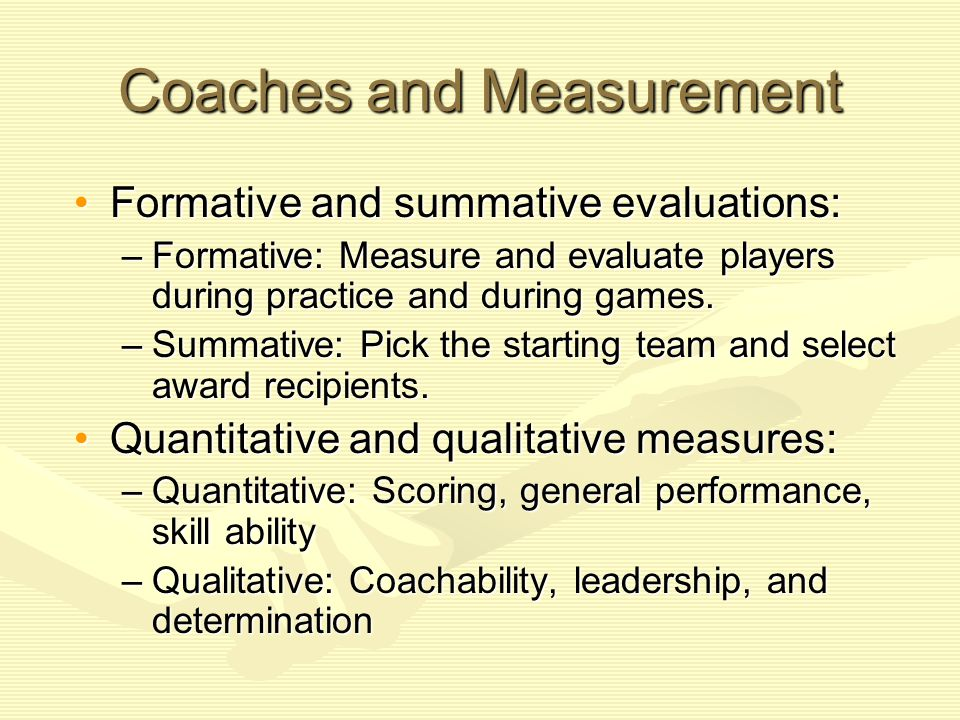 Coaches and Measurement