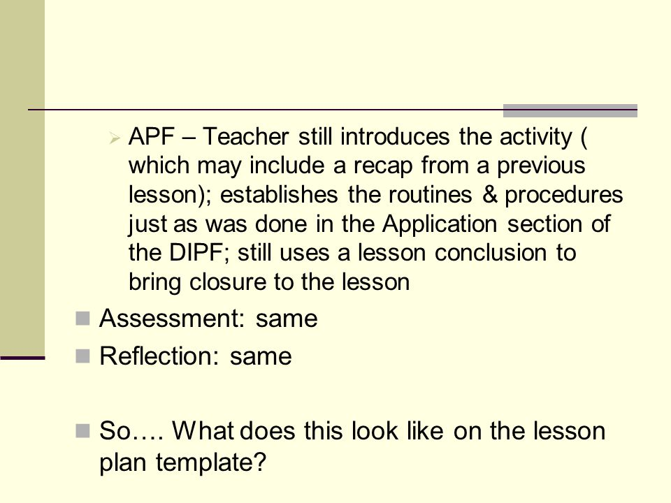 So…. What does this look like on the lesson plan template