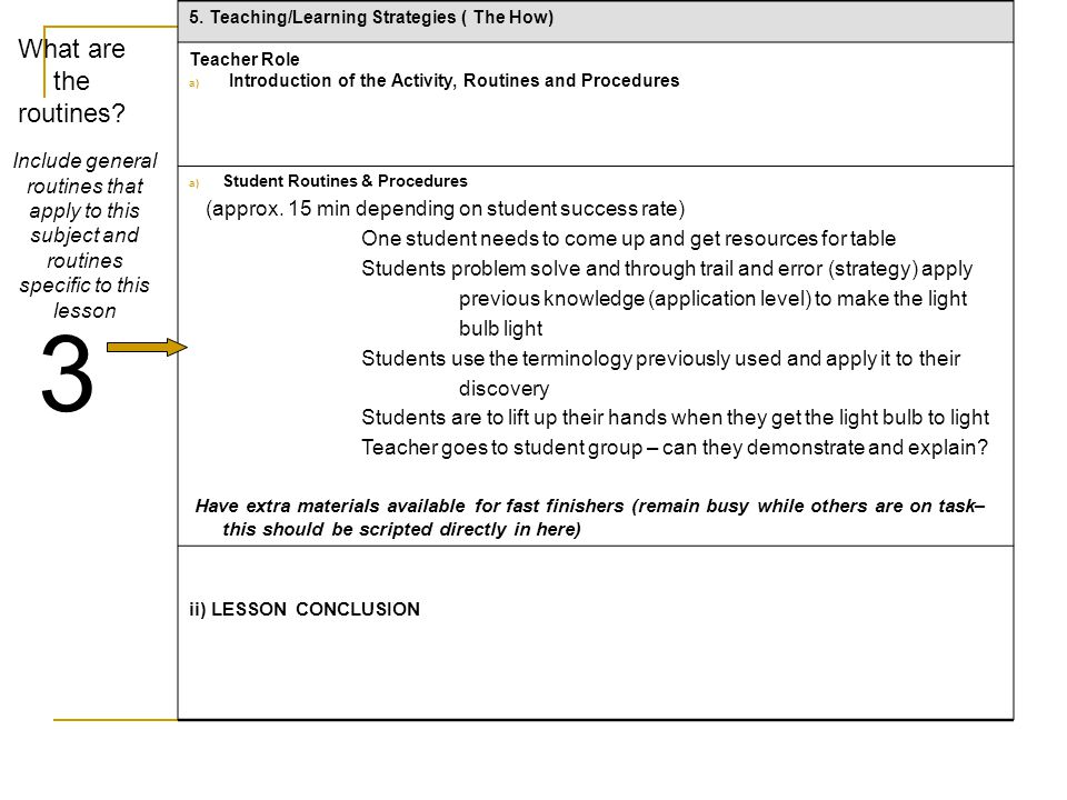 5. Teaching/Learning Strategies ( The How)