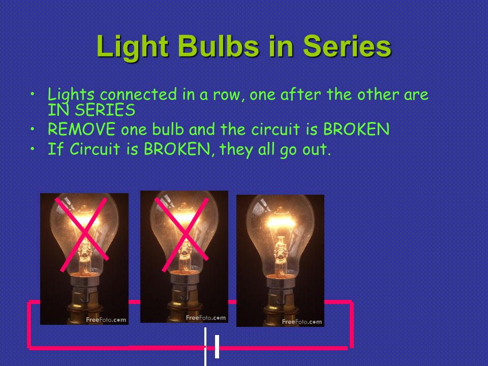 Light Bulbs in Series Lights connected in a row, one after the other are IN SERIES. REMOVE one bulb and the circuit is BROKEN.