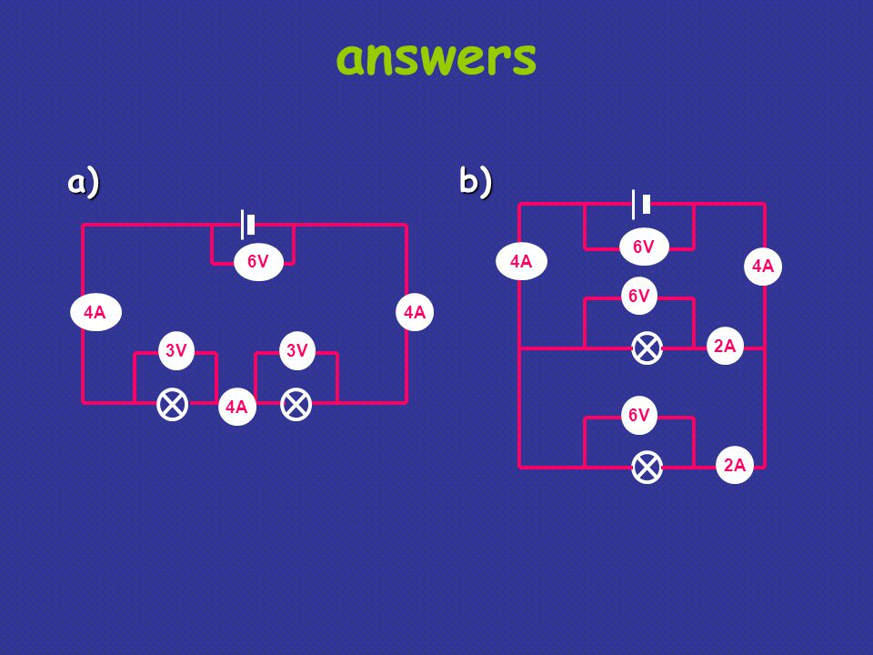 answers a) b) 6V 6V 4A 4A 6V 4A 4A 3V 3V 2A 4A 6V 2A