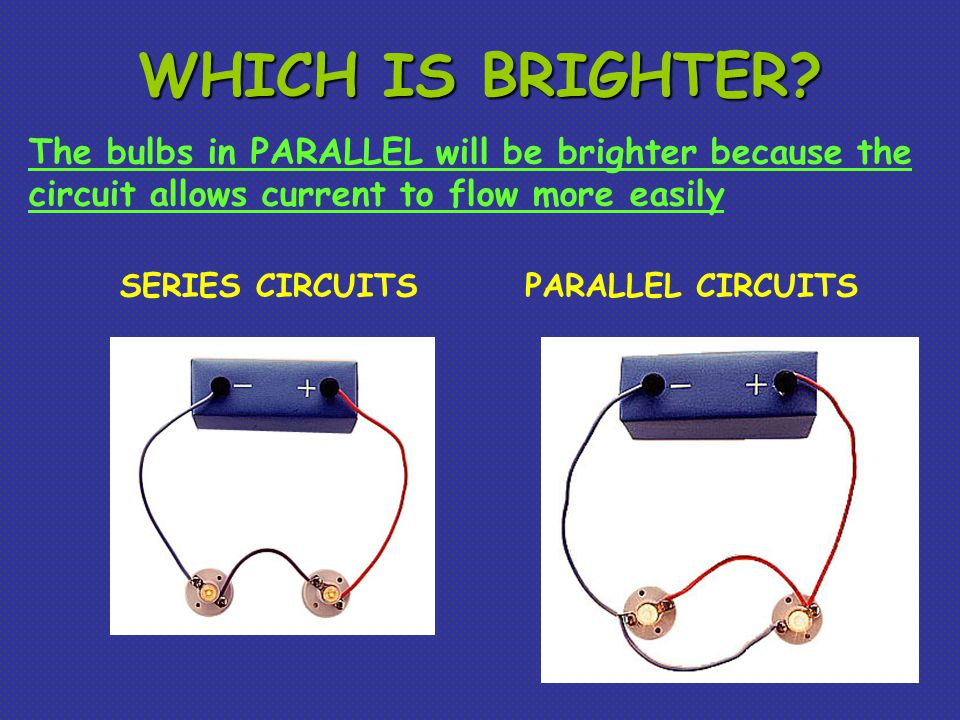 WHICH IS BRIGHTER The bulbs in PARALLEL will be brighter because the circuit allows current to flow more easily.