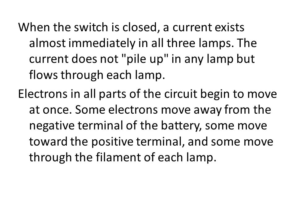 When the switch is closed, a current exists almost immediately in all three lamps. The current does not pile up in any lamp but flows through each lamp.
