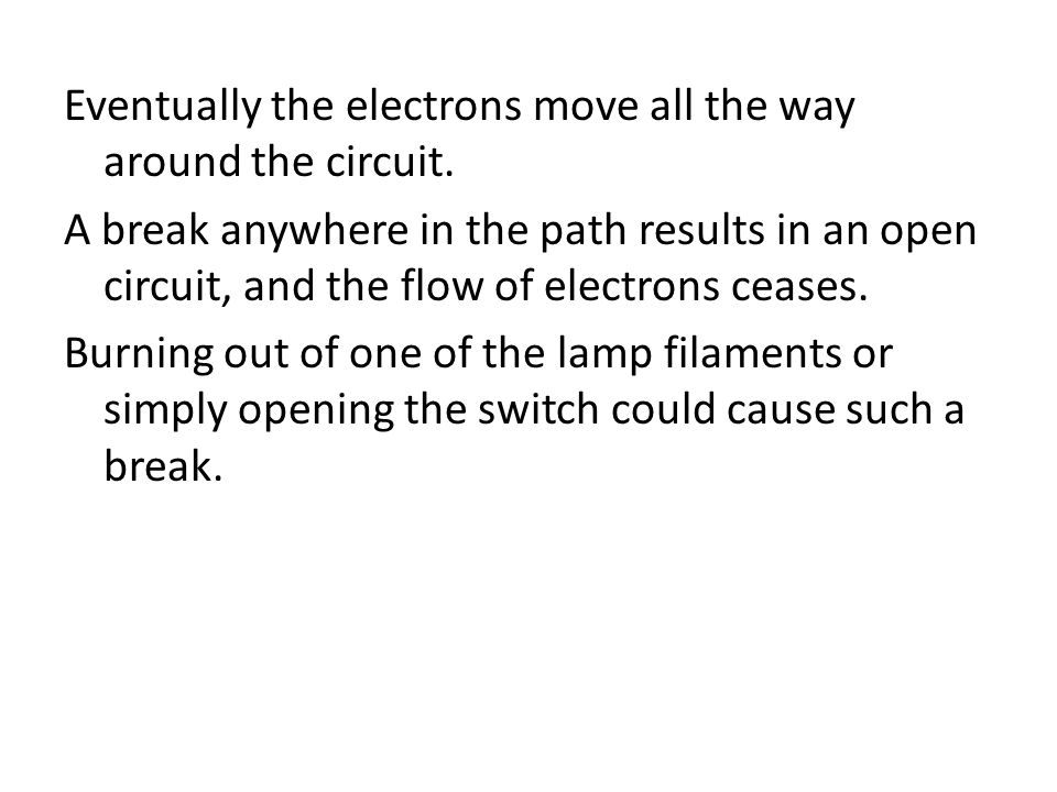 Eventually the electrons move all the way around the circuit.