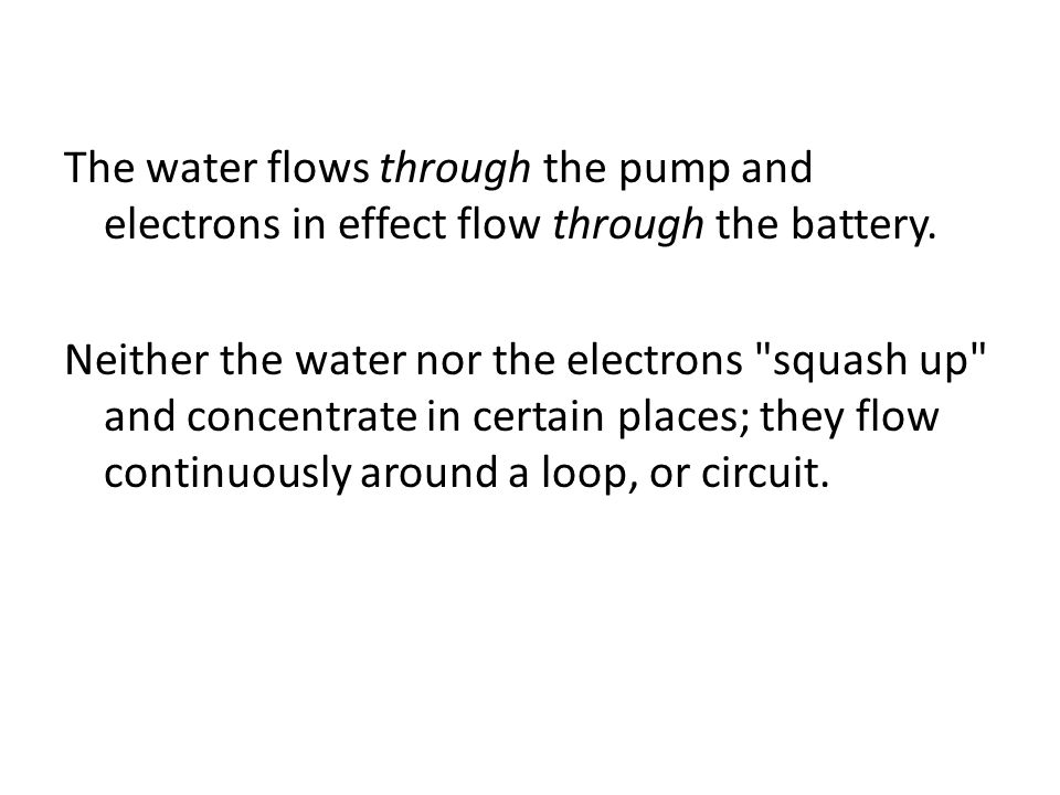 The water flows through the pump and electrons in effect flow through the battery.