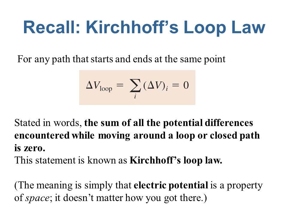 Recall: Kirchhoff's Loop Law