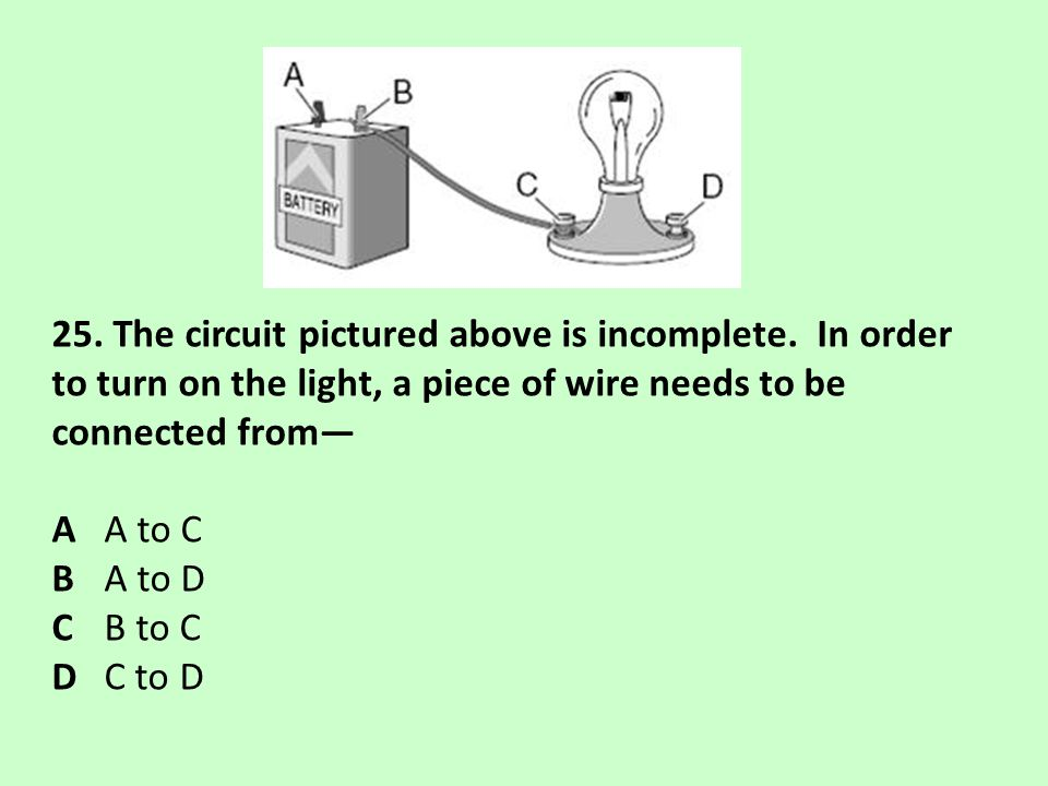 25. The circuit pictured above is incomplete