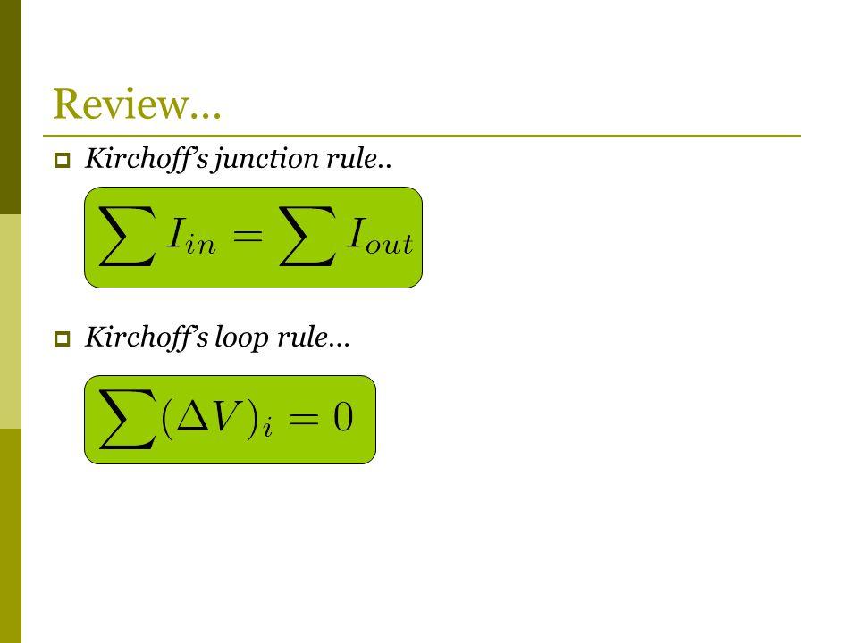 Review… Kirchoff's junction rule.. Kirchoff's loop rule…