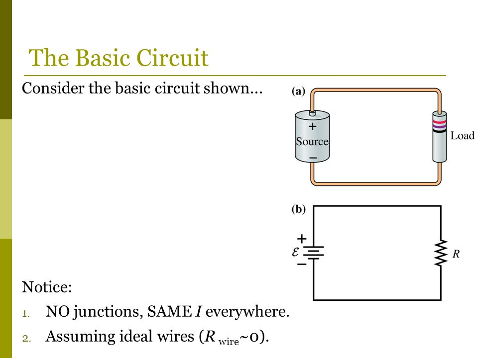 The Basic Circuit Consider the basic circuit shown... Notice: