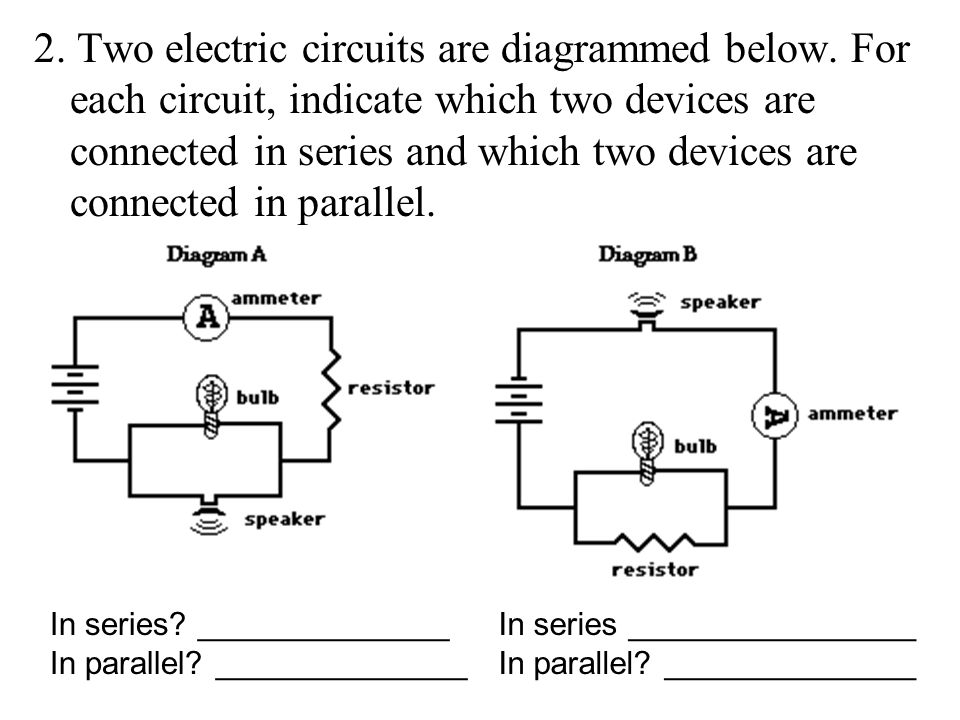 2. Two electric circuits are diagrammed below