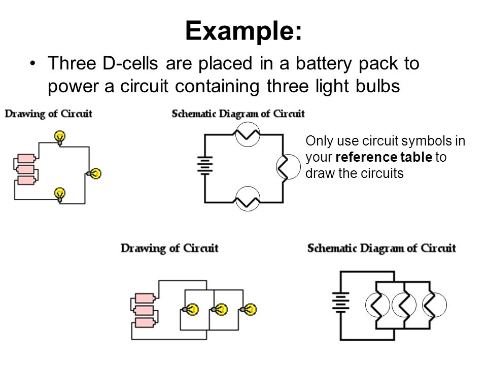 Example: Three D-cells are placed in a battery pack to power a circuit containing three light bulbs.