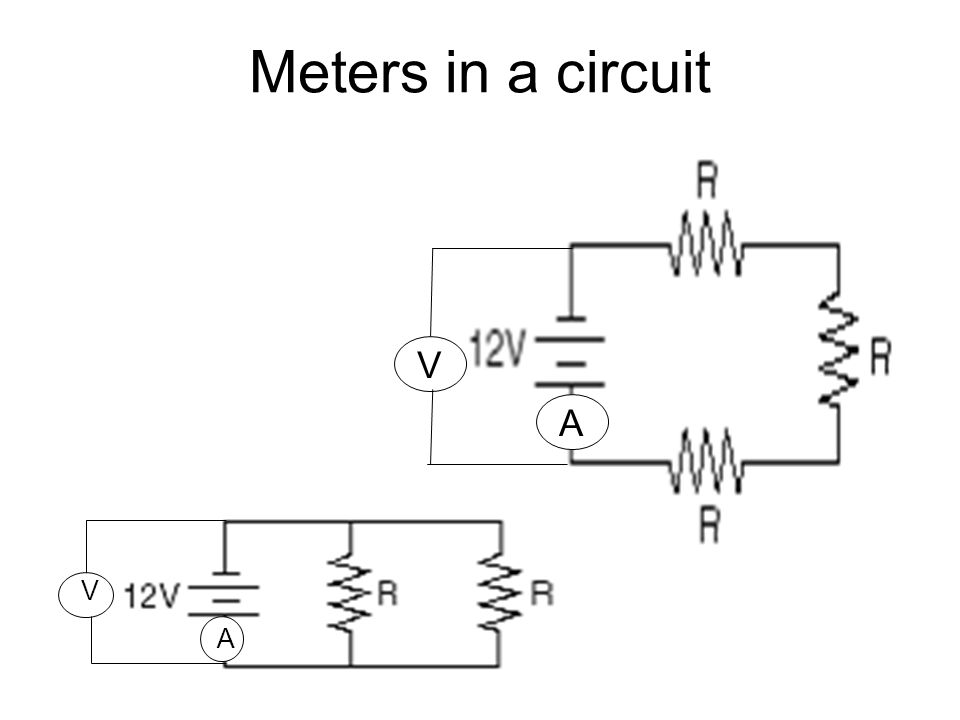 Meters in a circuit V A V A