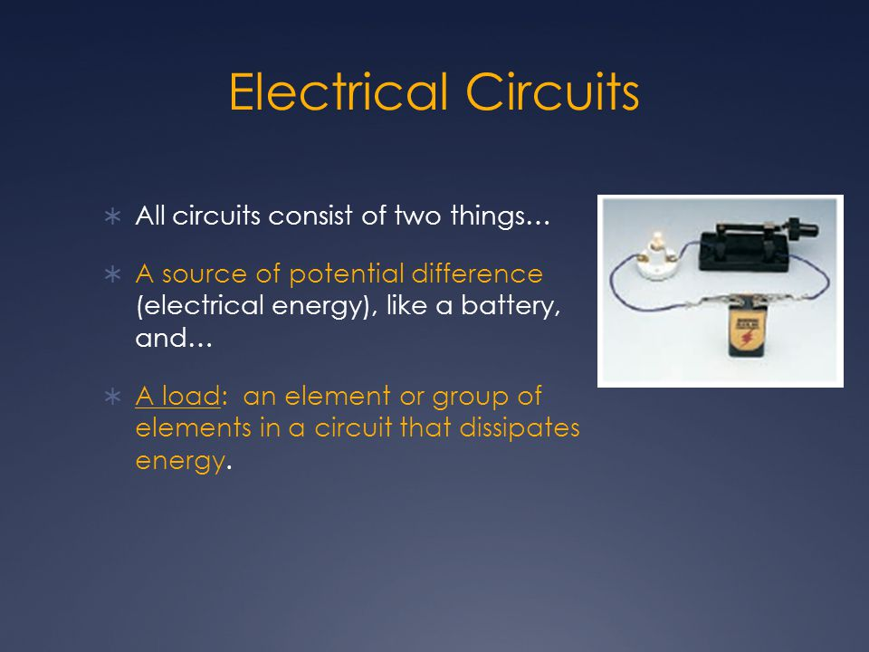 Electrical Circuits All circuits consist of two things…