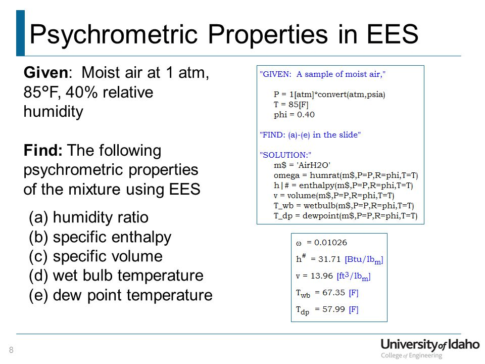 Psychrometric Properties in EES