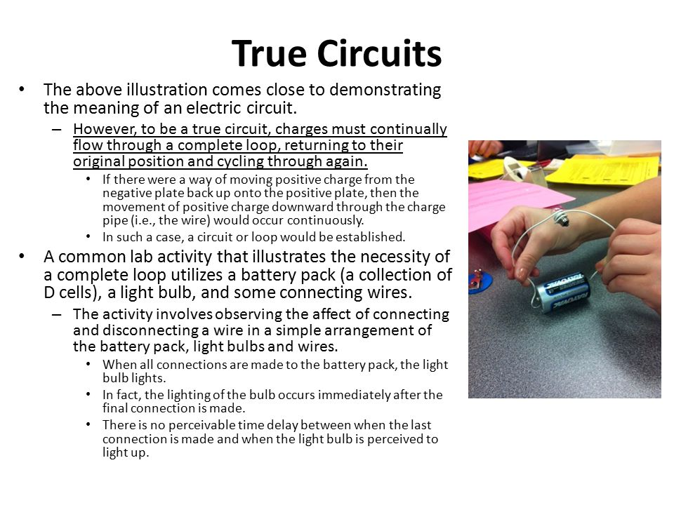 True Circuits The above illustration comes close to demonstrating the meaning of an electric circuit.
