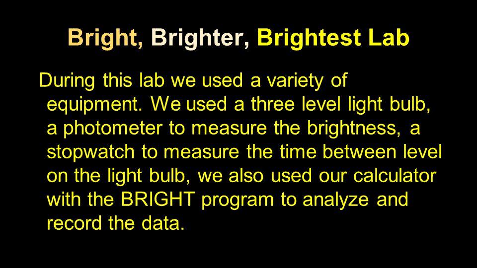 Bright, Brighter, Brightest Lab