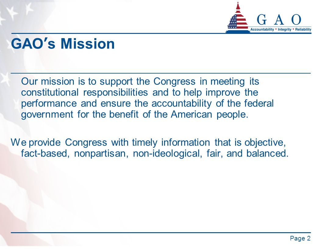GAO's Mission