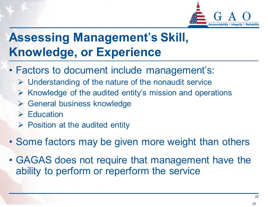 Assessing Management's Skill, Knowledge, or Experience