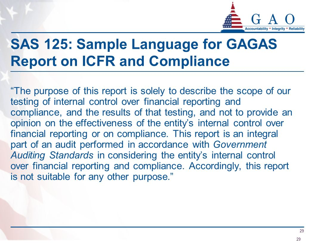 SAS 125: Sample Language for GAGAS Report on ICFR and Compliance