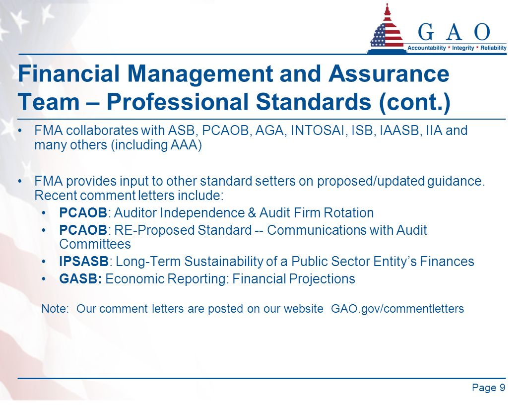 Financial Management and Assurance Team – Professional Standards (cont