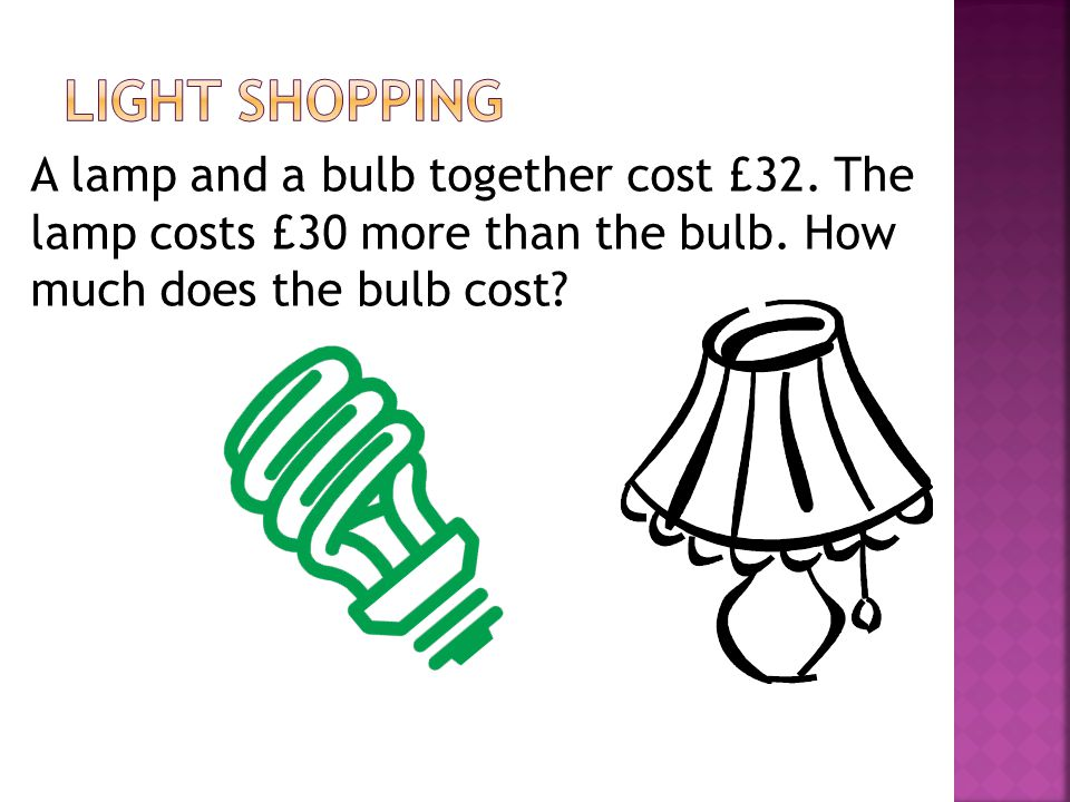 Light Shopping A lamp and a bulb together cost £32.