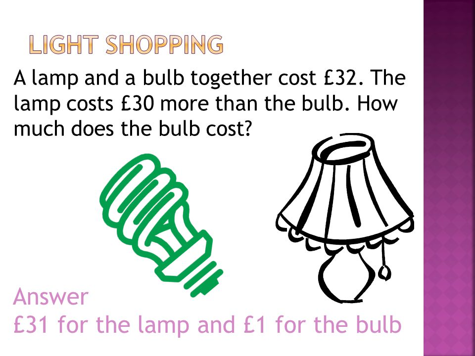 Light Shopping Answer £31 for the lamp and £1 for the bulb