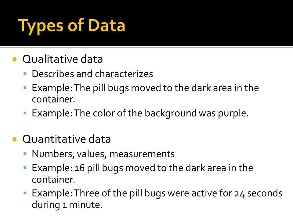 Types of Data Qualitative data Quantitative data