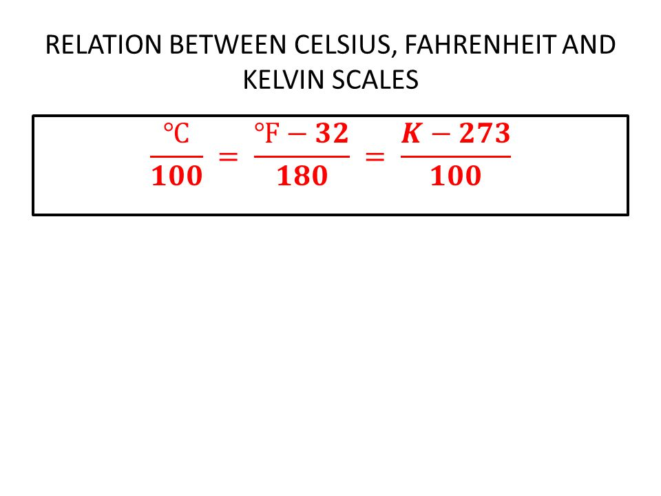 RELATION BETWEEN CELSIUS, FAHRENHEIT AND KELVIN SCALES