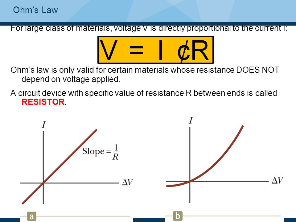 Ohm's Law For large class of materials, voltage V is directly proportional to the current I: