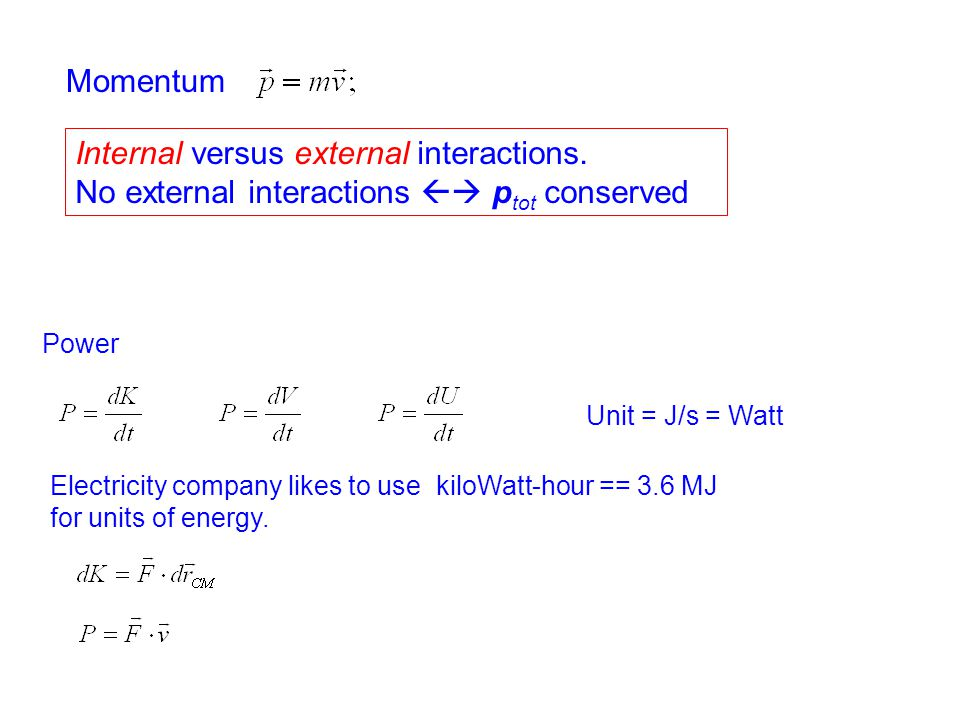Internal versus external interactions.
