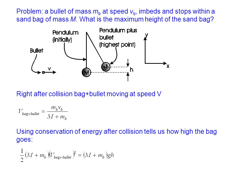 Problem: a bullet of mass mb at speed vb, imbeds and stops within a sand bag of mass M. What is the maximum height of the sand bag