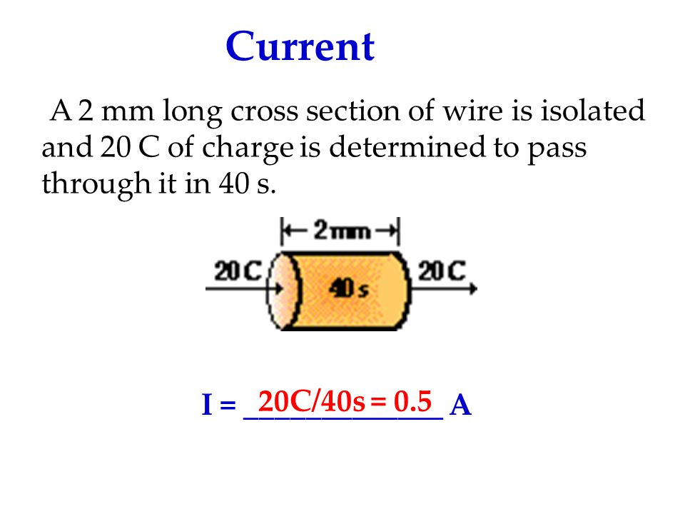 Current A 2 mm long cross section of wire is isolated and 20 C of charge is determined to pass through it in 40 s.